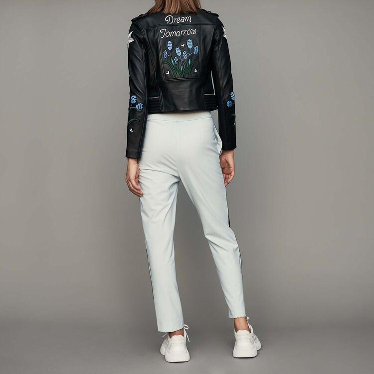Pantalon élastiqué avec bandes côtés : Pantalons couleur Bleu Ciel