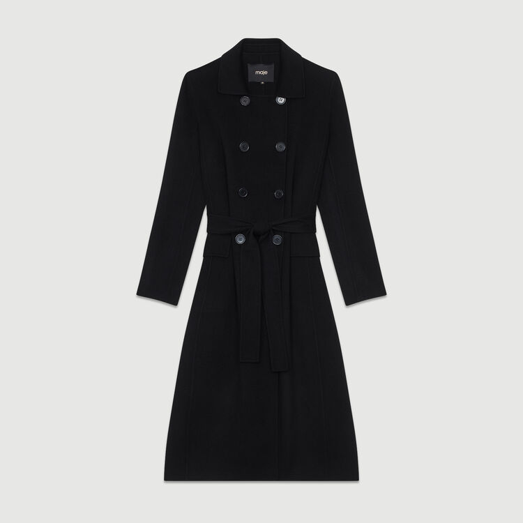 Manteau long en laine double face : Manteaux couleur Camel