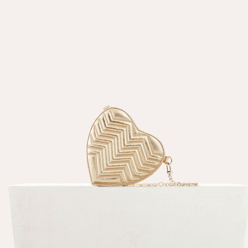 Quilted leather heart-shaped saddle bag : See all color Gold