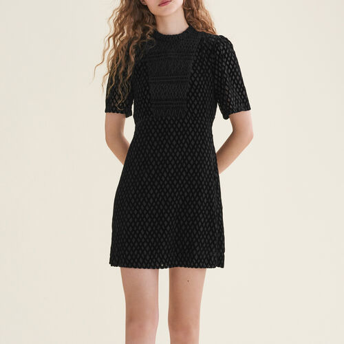Short dress with front panel : Dresses color Black 210