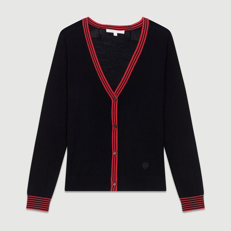 Cardigan fin en laine mérinos : Prêt-à-porter couleur Black