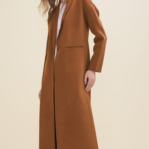 Long double-sided wool coat : Coats color Black 210