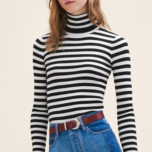 Striped roll-neck jumper : Sweaters & Cardigans color Two-Tone