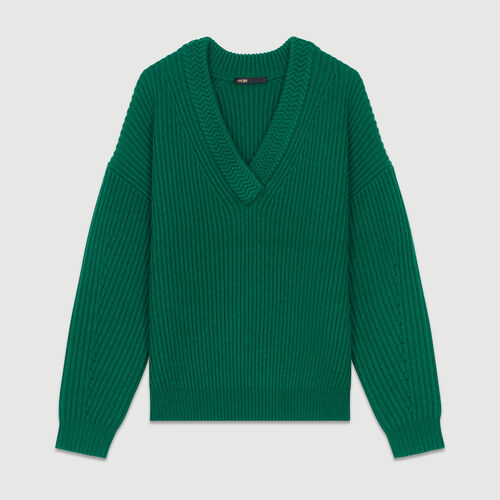 Pull oversize en laine mélangée : Tartan couleur VERT