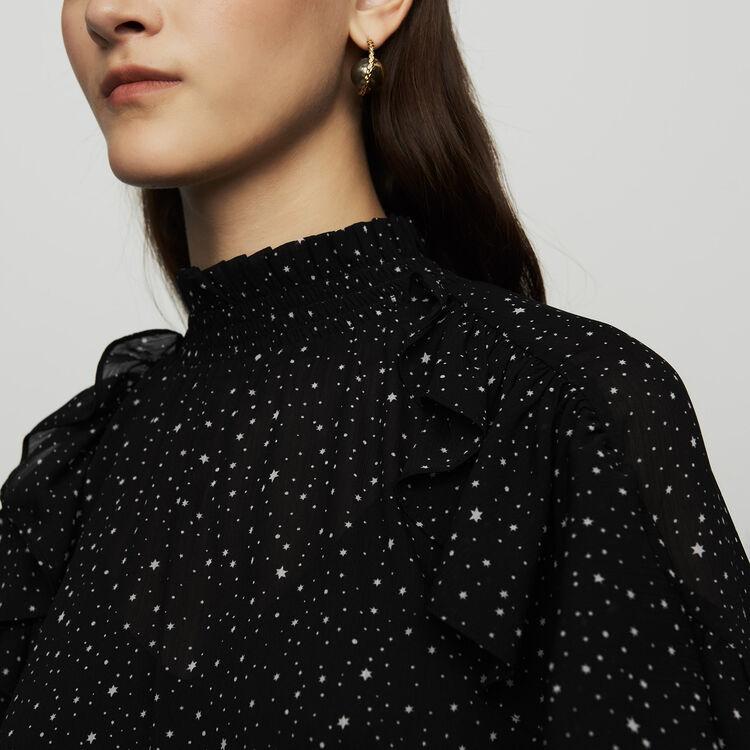 Chemise volantée à imprimés : Chemises couleur BLACK