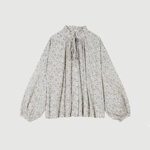 Chemise en coton à imprimé floral : Tops & Chemises couleur Gris