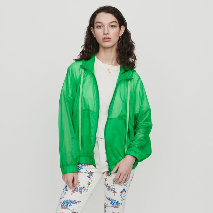 Light hooded windbreaker : Coats & Jackets color Green