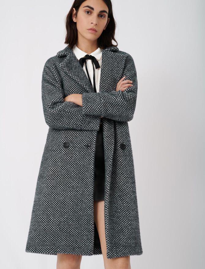 Checked tricotine coat -  - MAJE