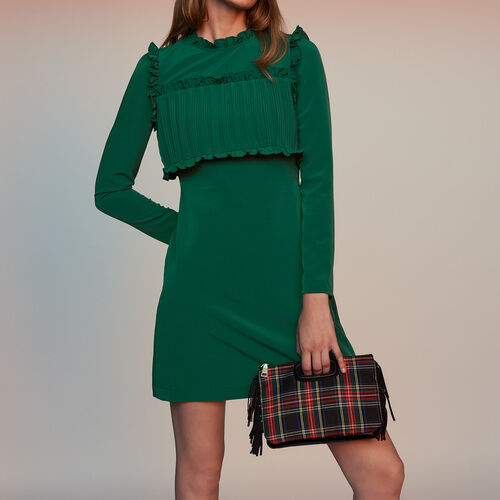 Straight dress with pleated bib : Dresses color Green