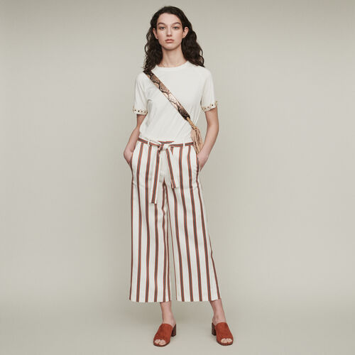 Wide striped pants with belt : Trousers & Jeans color Stripe