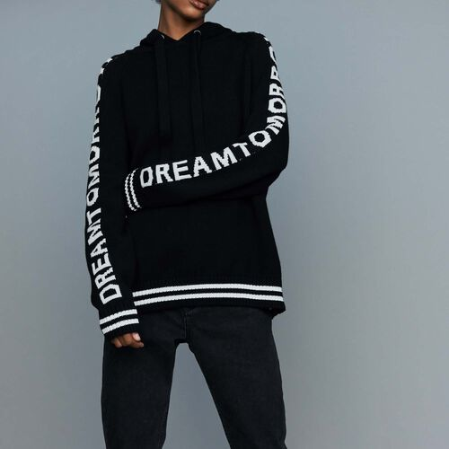 Oversize hooded graphic sweater : Knitwear color Black 210