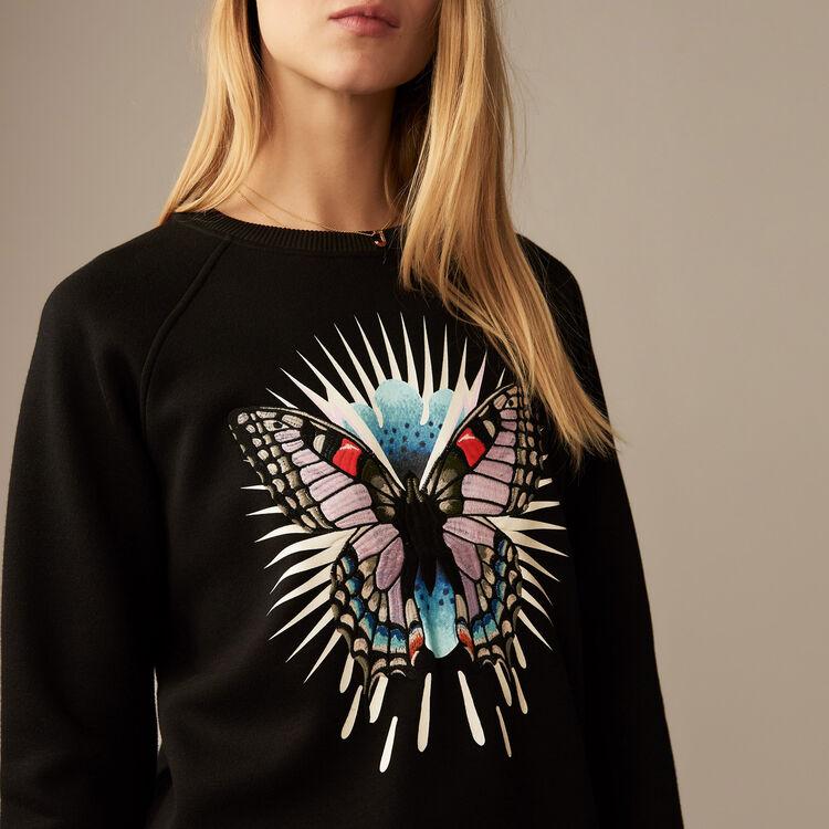 Sweat-shirt avec papillon brodé : Maille couleur Black