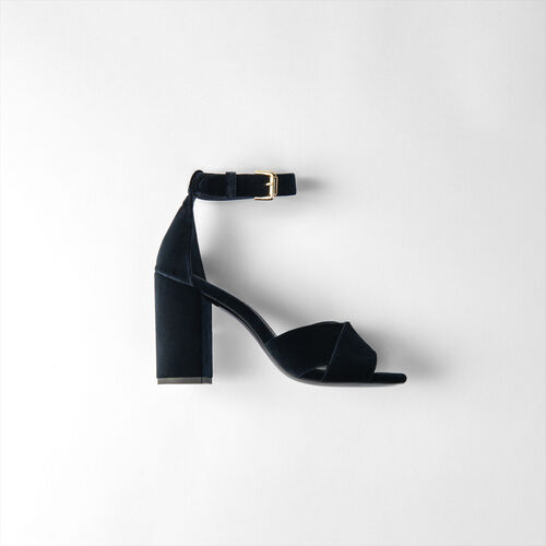 Heeled velvet sandals : Slipper color Navy