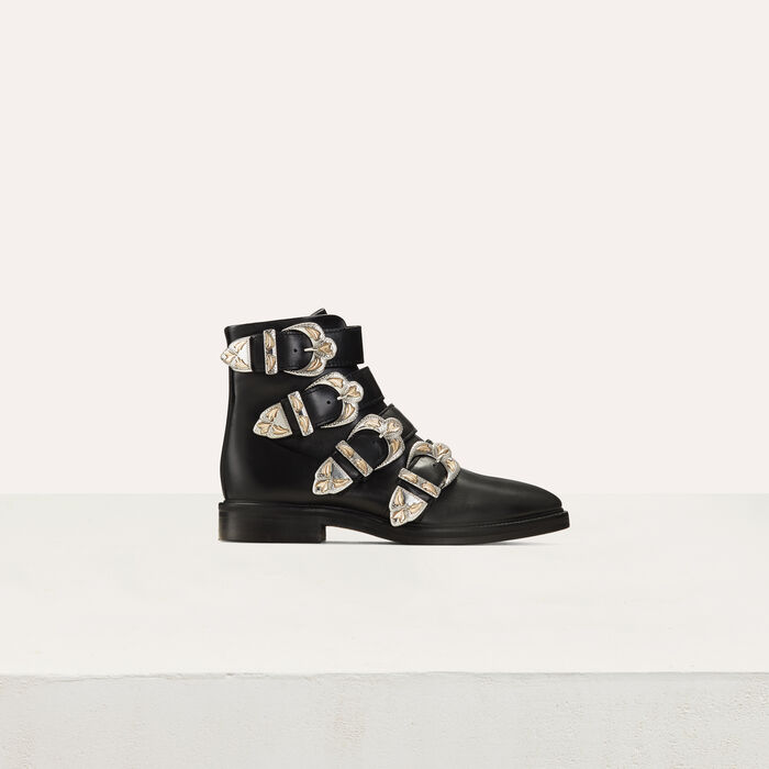 Multi-strap leather booties : Booties color Black 210