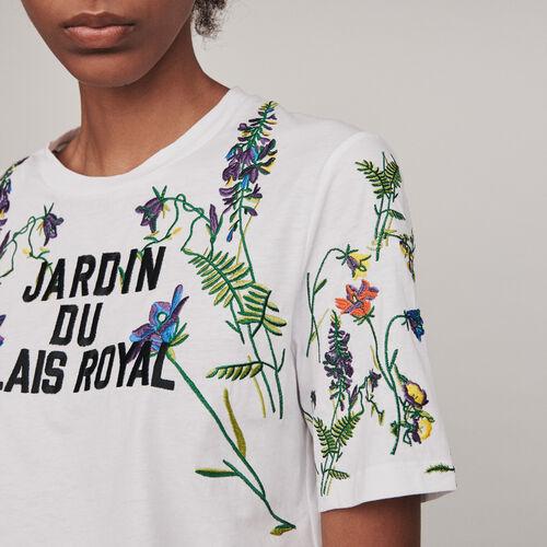 Tee-shirt avec broderies : T-Shirts couleur BLANC
