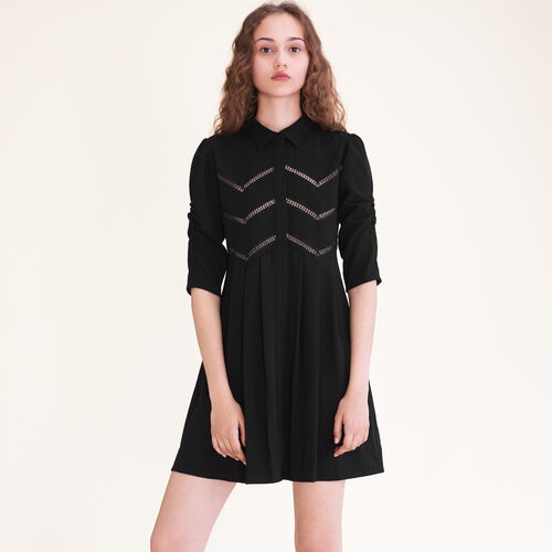 Shirt dress with braid trim : Dresses color Black 210