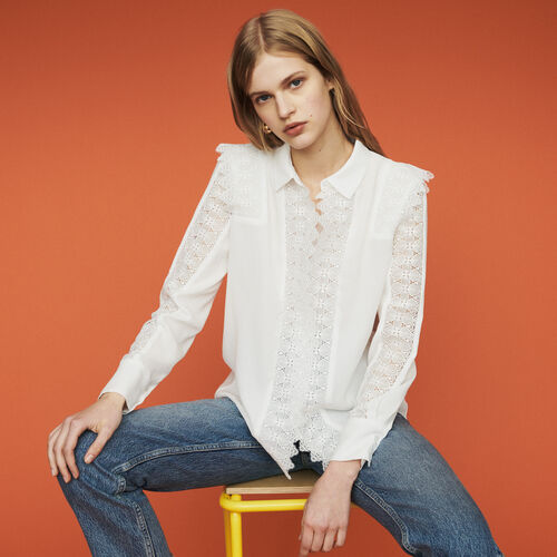 Shirt with lace : New in : Summer Collection color White
