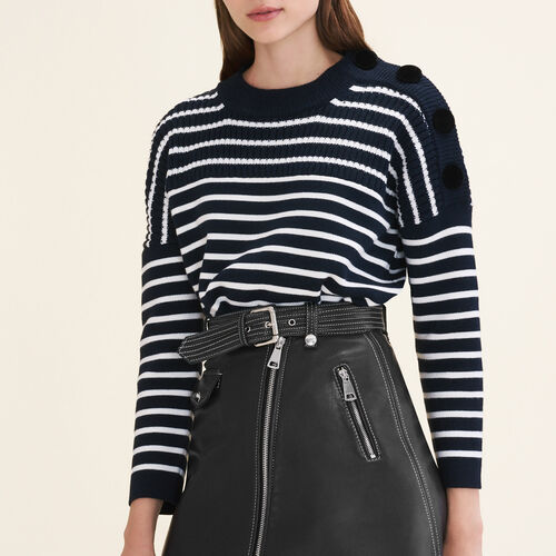 Breton jumper with velvet buttons - Knitwear - MAJE