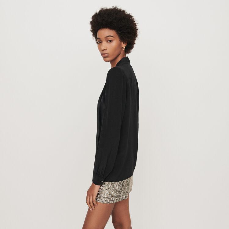 Top en soie à lavallière : Tops & Chemises couleur Noir