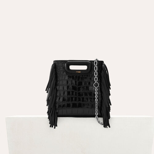 "Mini ""M"" bag in crocodile with chain : Office girl color Black 210"