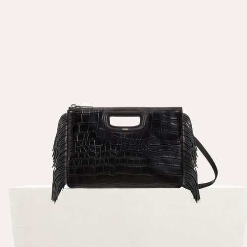 Pochette M Duo en cuir embossé crocodile : M Duo couleur Black