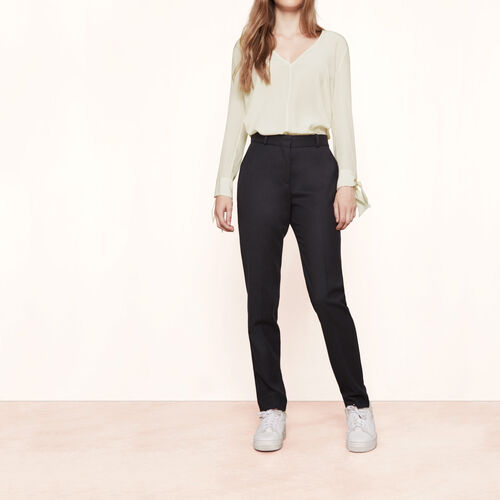 Wool straight trousers : Trousers & Jeans color Navy