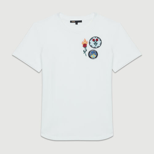 Tee-shirt en coton à patch : T-Shirts couleur BLANC