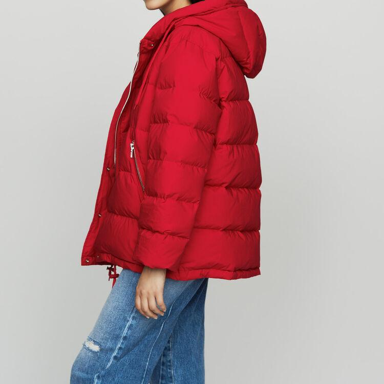 Doudoune zippée à capuche : Manteaux couleur ROUGE