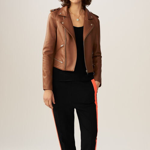 Leather jacket : Coats & Jackets color Red