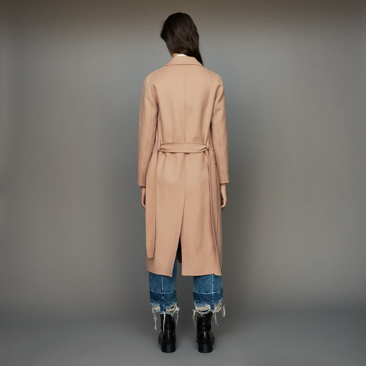 Manteau long en laine double face : Manteaux couleur Camel