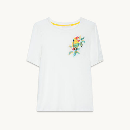 Embroidered linen T-shirt - null - MAJE
