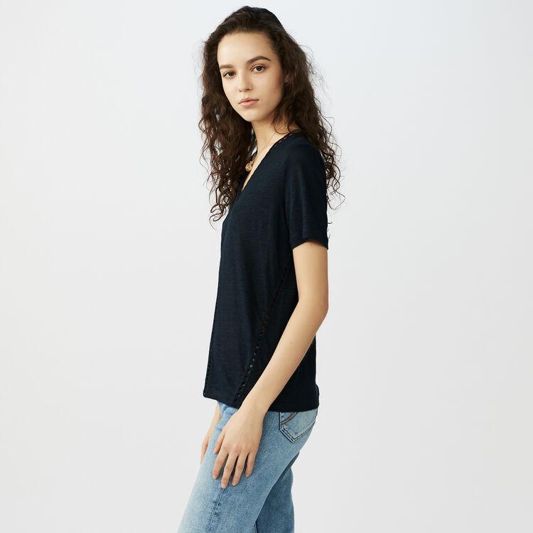 Top en lin avec ajours : T-Shirts couleur Marine