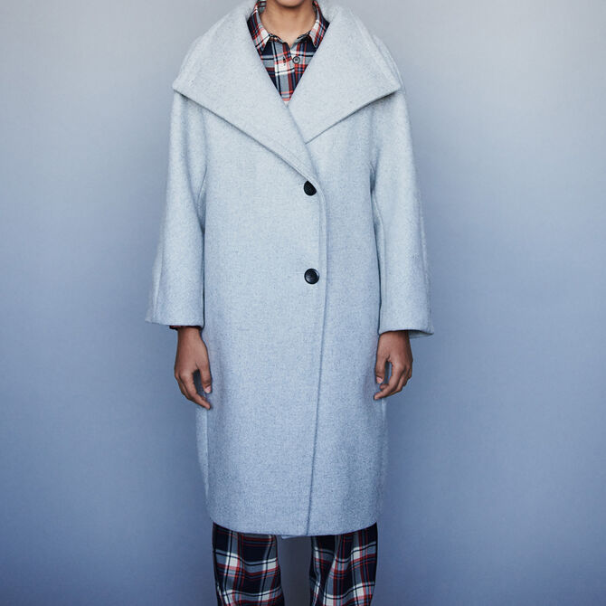 Long wool coat with wide collar - See all - MAJE