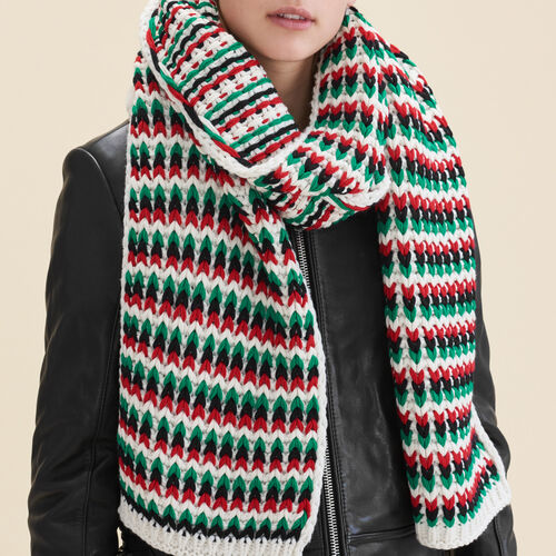 Multicolored jacquard knit scarf : Accessories color Multico