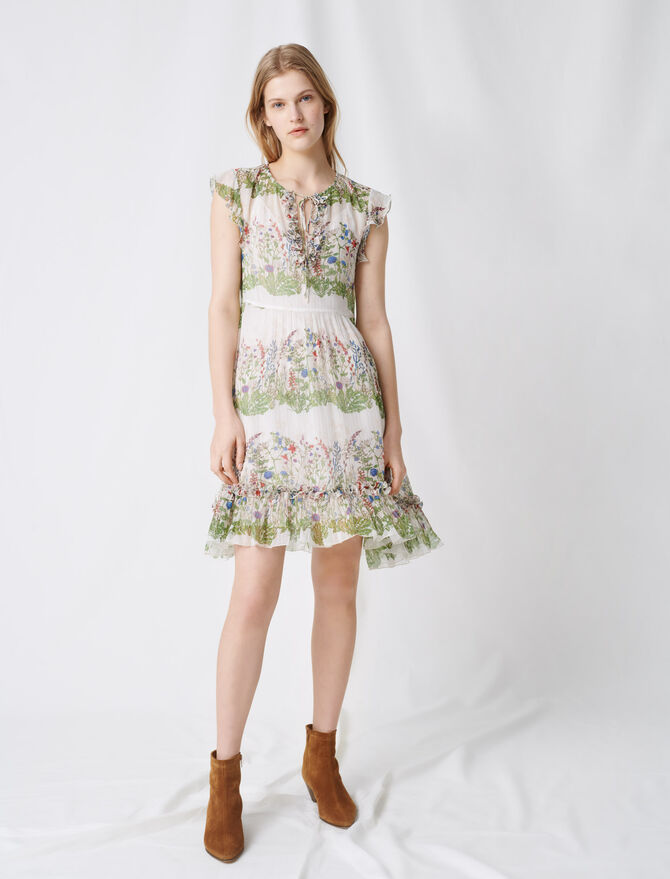 Printed silk dress - Dresses - MAJE