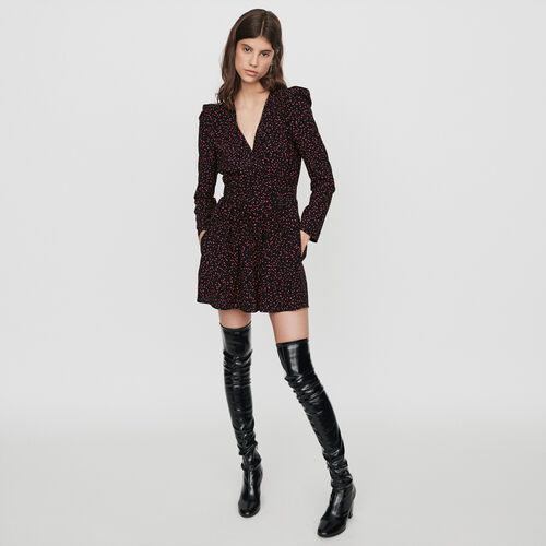 Trompe-l'oeil-printed playsuit : Skirts & Shorts color Black