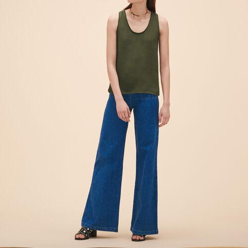 Crêpe vest : Tops color Khaki
