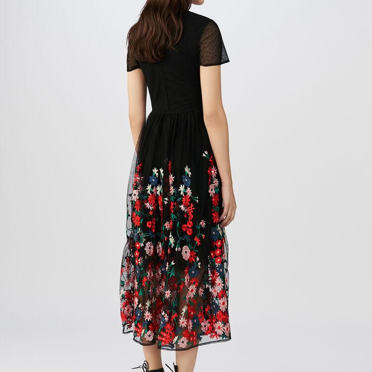 Robe longue en tulle brodé : Robes couleur Black