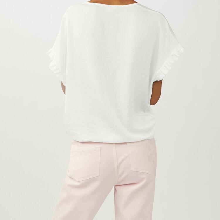 Top loose avec détails volantés : Tops couleur Blanc