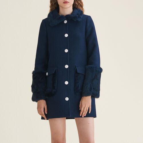 Mixed wool coat : Coats & Jackets color Blue