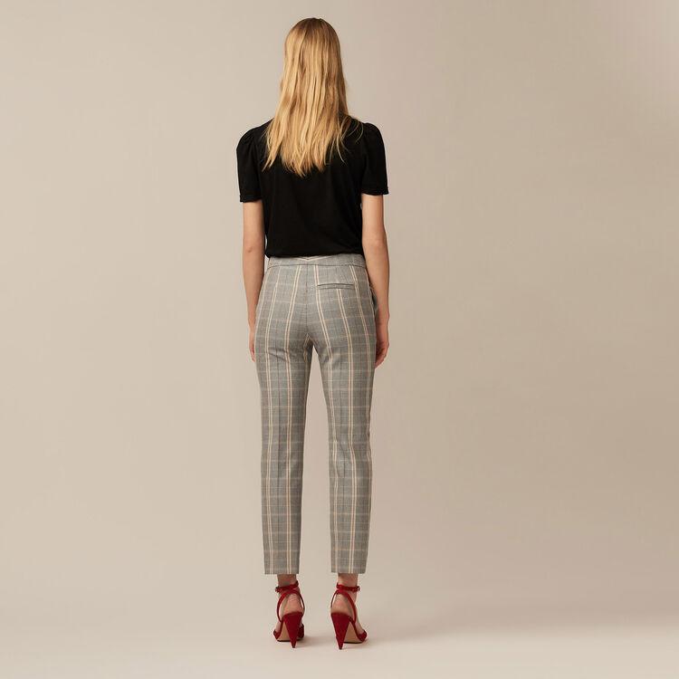 Pantalon droit à carreaux : Pantalons couleur CARREAUX