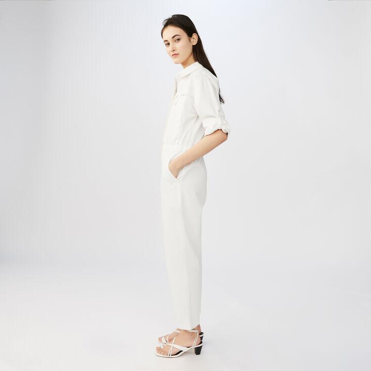 Combi-pantalon type worker en coton : Tout voir couleur ECRU
