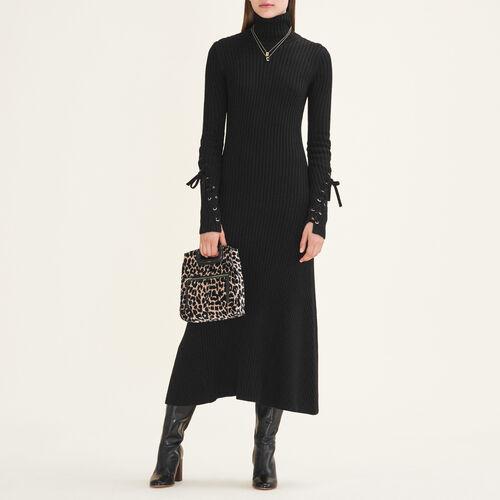 Robe longue en maille tube : Robes couleur Black