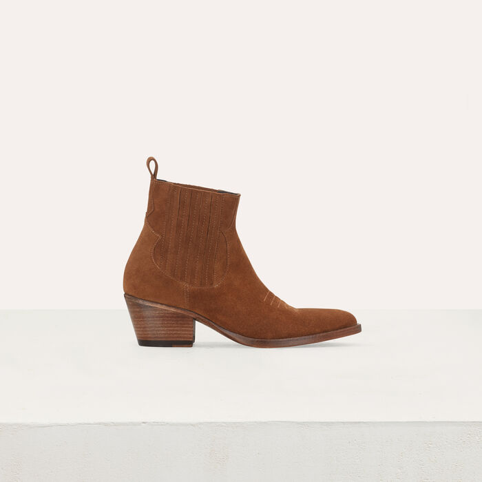 Suede booties with Western-style cutouts : Booties & Boots color Camel