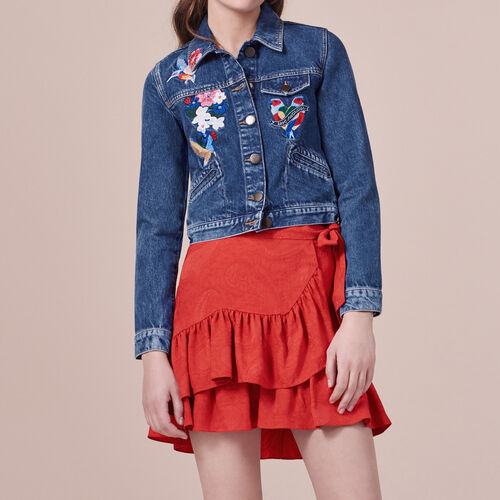 Embroidered denim jacket : Blazers & Jackets color Blue