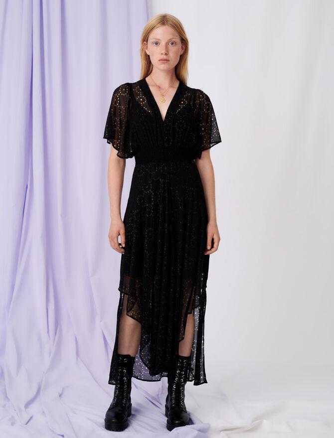 Muslin dress with openwork designs - Dresses - MAJE