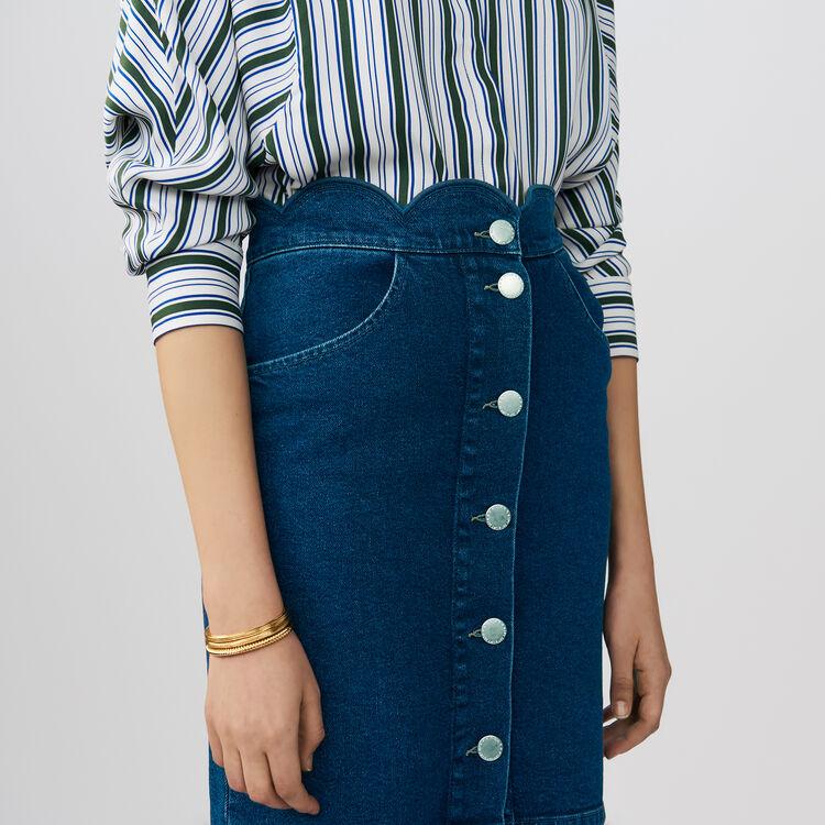 Jupe en denim avec découpes fantaisie : Jupes & Shorts couleur Denim