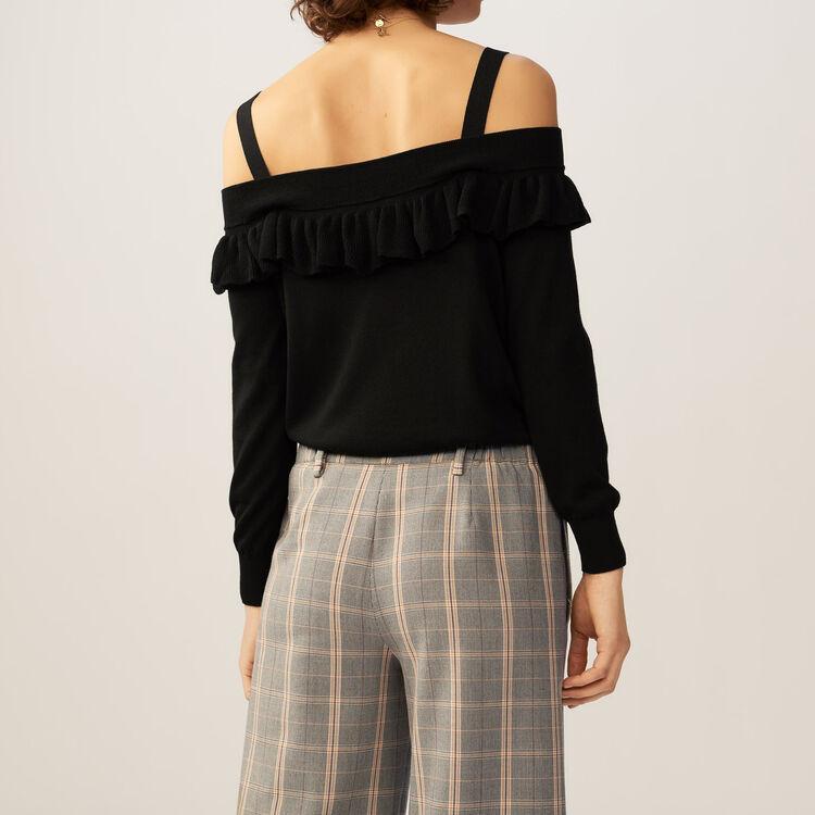 Pull fin avec épaules dénudées : Maille couleur Black
