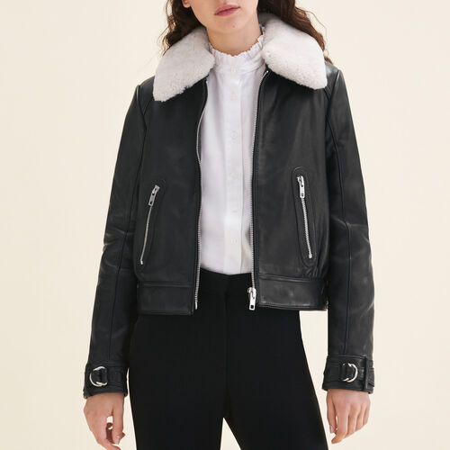 Sheepskin collar aviator jacket : See all color Black 210