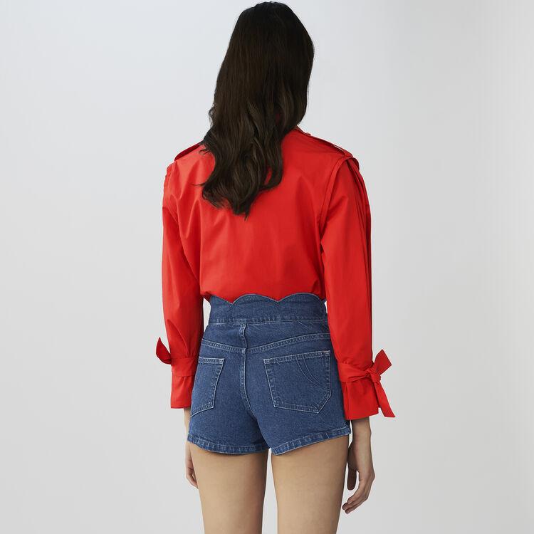 Short en jean avec découpes fantaisie : Jupes & Shorts couleur Denim